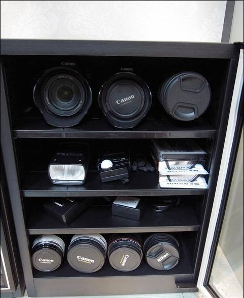 Canon camera and lenses stored in Eureka Dry Tech Humidity Controlled Dry Cabinet