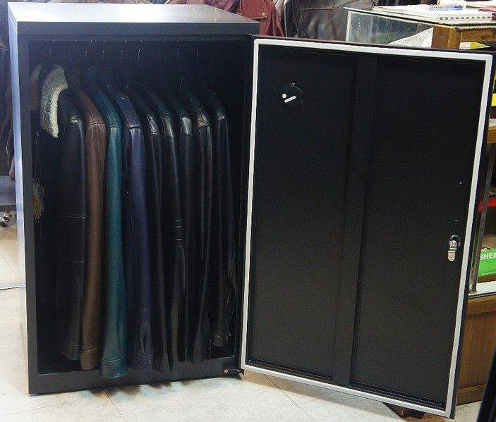 Leather Coats in a Boutique shop are stored in Eureka Dry Tech's Wardrobe series dry cabinet