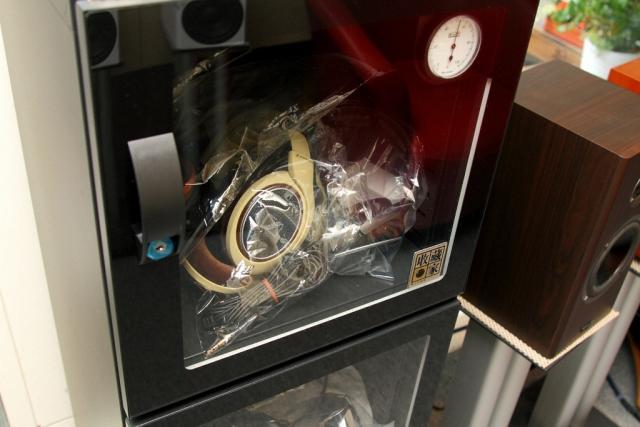 Headphones protected in Eureka's dry cabinet