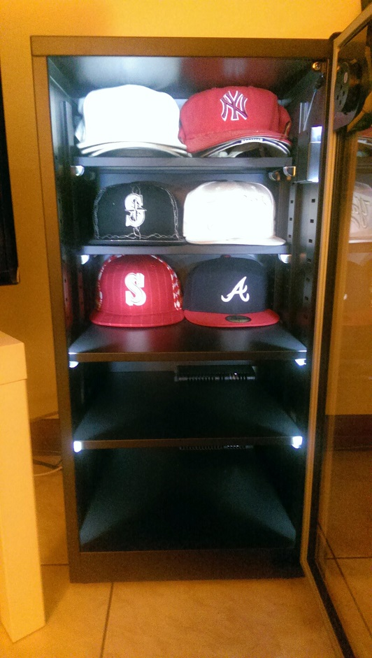 Baseball hat collection in an Eureka Auto Dry Box.