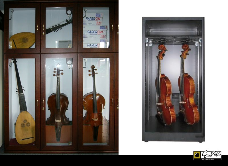 Violin, ukulele, cellos, violas moisture & humidity protection storage dry cabinet by Eureka Dry Tech