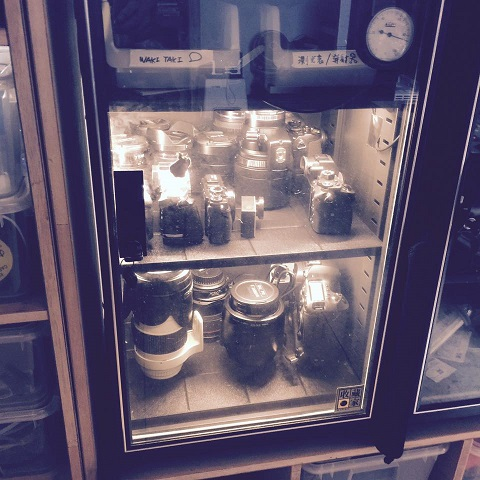 Classic films and cameras protected in Eureka Dry Tech's humidity controlled dry cabinet