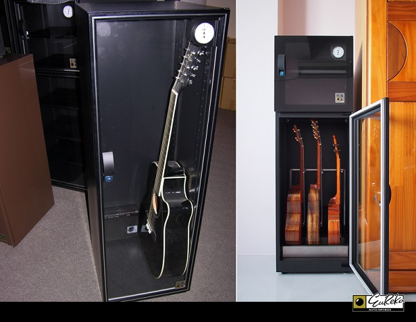 Eureka Dry Tech's dry cabinet protecting guitars and other string instruments from moisture damage.