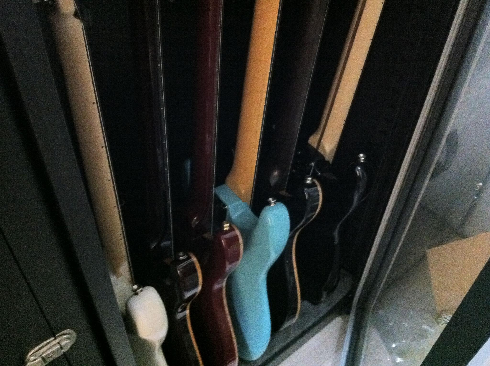 Guitar collection protected in Eureka Dry Tech Humidity Controlled Cabinet