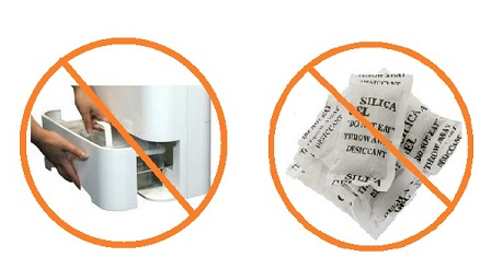 Eureka does not require emptying of water tank or replacement of desiccant packs